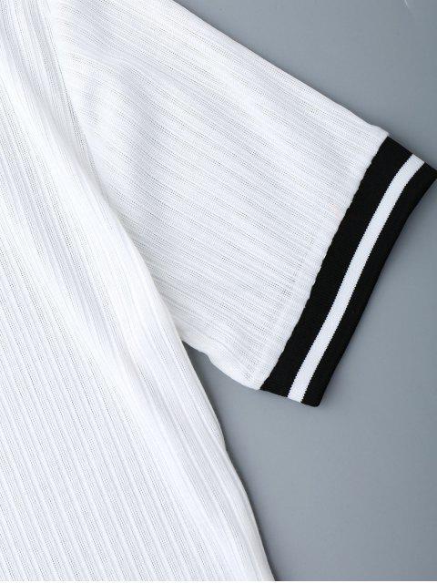 trendy Ribbed Striped Panel Mini Dress - WHITE S Mobile