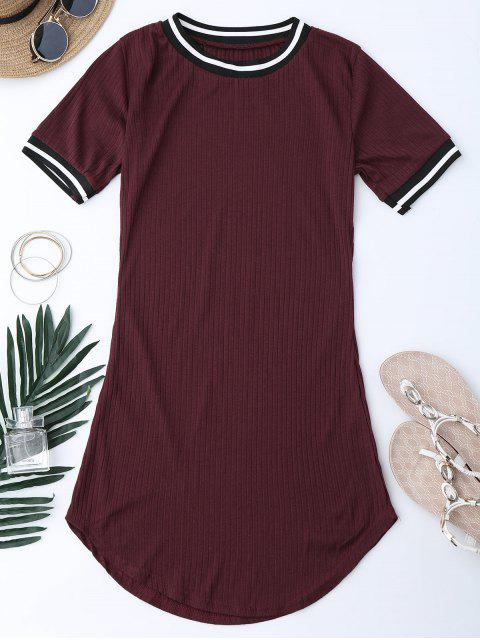 ladies Ribbed Striped Panel Mini Dress - WINE RED 2XL Mobile