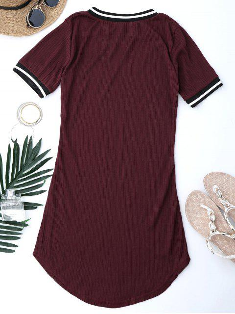 online Ribbed Striped Panel Mini Dress - WINE RED M Mobile