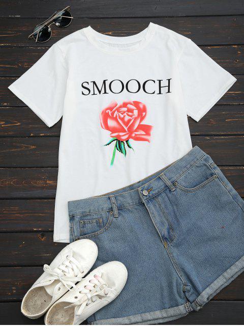 T-shirt col rond imprimé lettres et fleur - Blanc XL Mobile