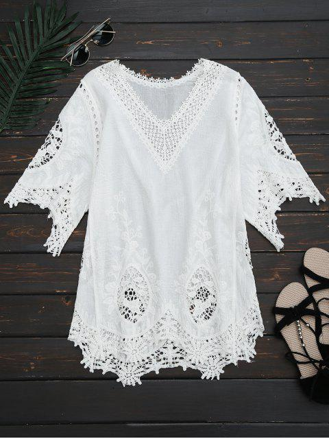 hot V Neck Hollow Out Blouse - WHITE ONE SIZE Mobile