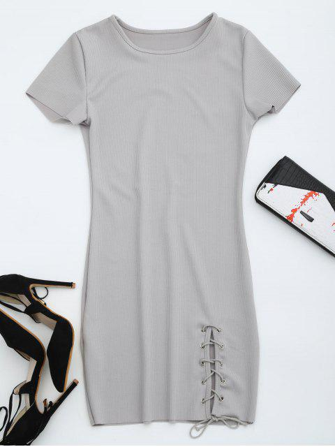 buy Round Collar Ribbed Lace Up Dress - GRAY M Mobile