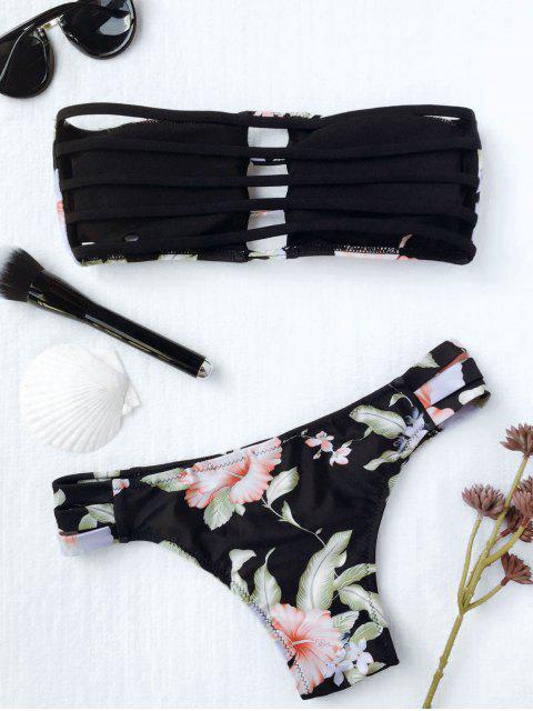 online Strapless Floral Ladder Cut Bikini - BLACK M Mobile