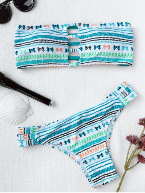 Bikini bandeau imprimé tribu avec découpes d'échelle - Bleu clair L Mobile