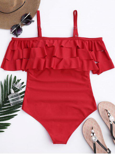 online Ruffle Off The Shoulder One Piece Swimsuit - RED L Mobile