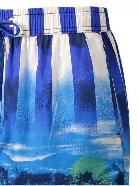 best Star and Stripe Printed Board Shorts - BLUE L Mobile