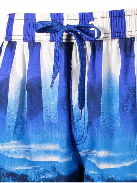 online Star and Stripe Printed Board Shorts - BLUE XL Mobile