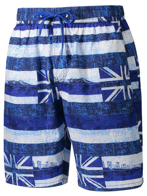 Union Jack imprimé à rayures Short - Bleu L Mobile