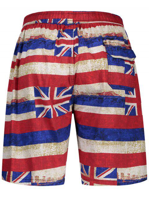 fancy Union Jack Printed Striped Board Shorts - RED 3XL Mobile