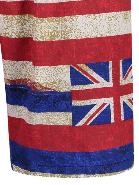 sale Union Jack Printed Striped Board Shorts - RED XL Mobile