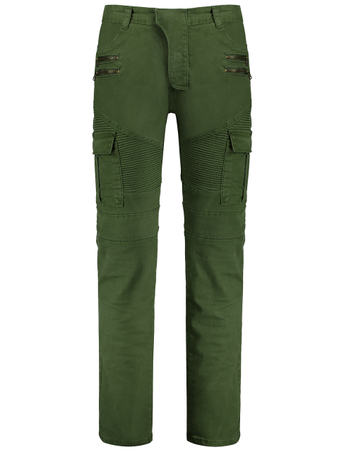 hot Zips Biker Pants with Multi Pockets - GREEN 2XL Mobile