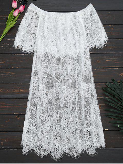 shop Off The Shoulder Sheer Lace Blouse - WHITE L Mobile