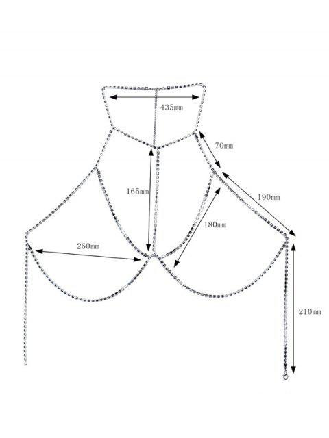 womens Rhinestone Geometric Bra Body Chain - SILVER  Mobile