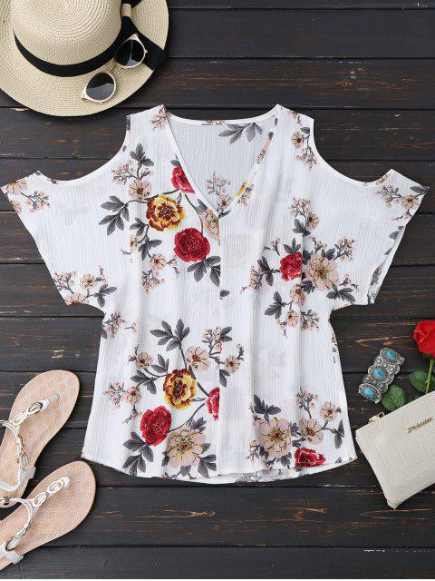 outfits V Neck Floral Cold Shoulder Top - FLORAL S Mobile