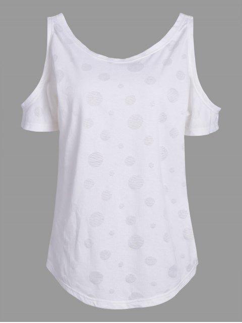 women Plus Size Cold Shoulder Plain T-Shirt - WHITE 4XL Mobile