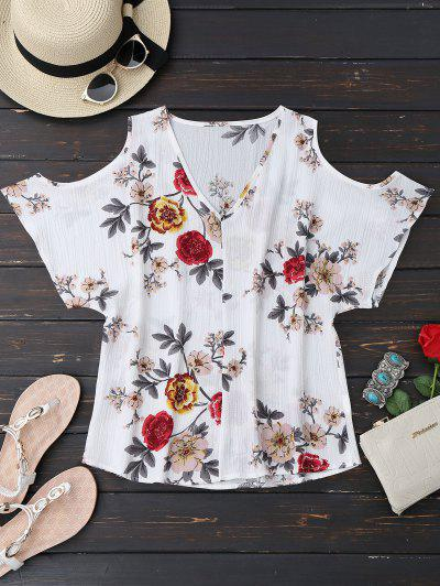 V Neck Floral Cold Shoulder Top - Floral S