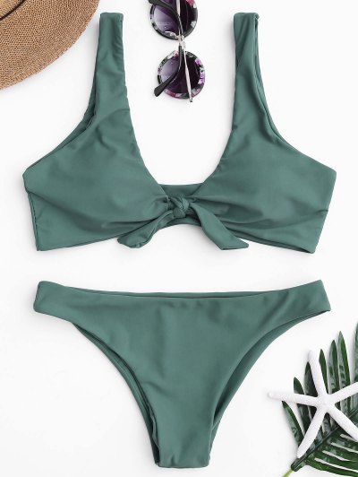 Knotted Scoop Bikini Top And Bottoms - Lake Green M