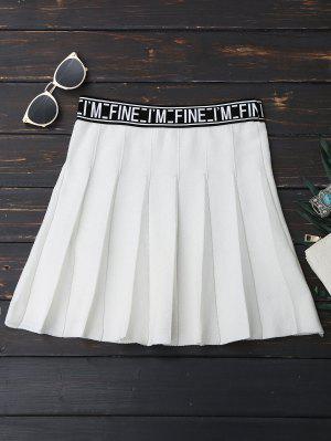 Mini Falda De Tejido En Forma De A Línea Con Texto - Blanco