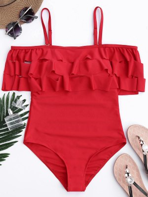 Ruffle Off The Shoulder One Piece Swimsuit - Red S