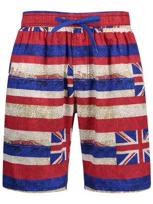 Union Jack Printed Striped Board Shorts