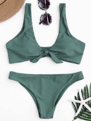 Knotted Scoop Bikini Top And Bottoms - Lake Green S