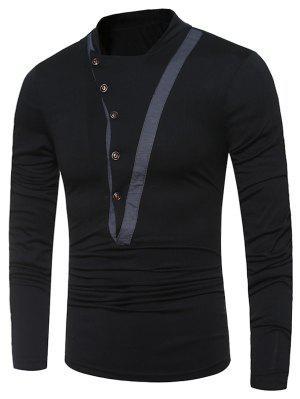 Stand Collar Irregular Buttons Long Sleeve T-shirt - Black Xl
