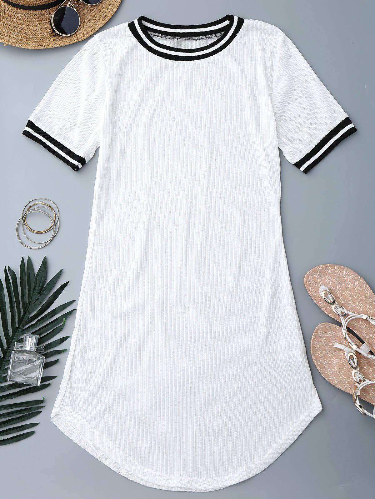 Ribbed Striped Panel Mini Dress 214524901