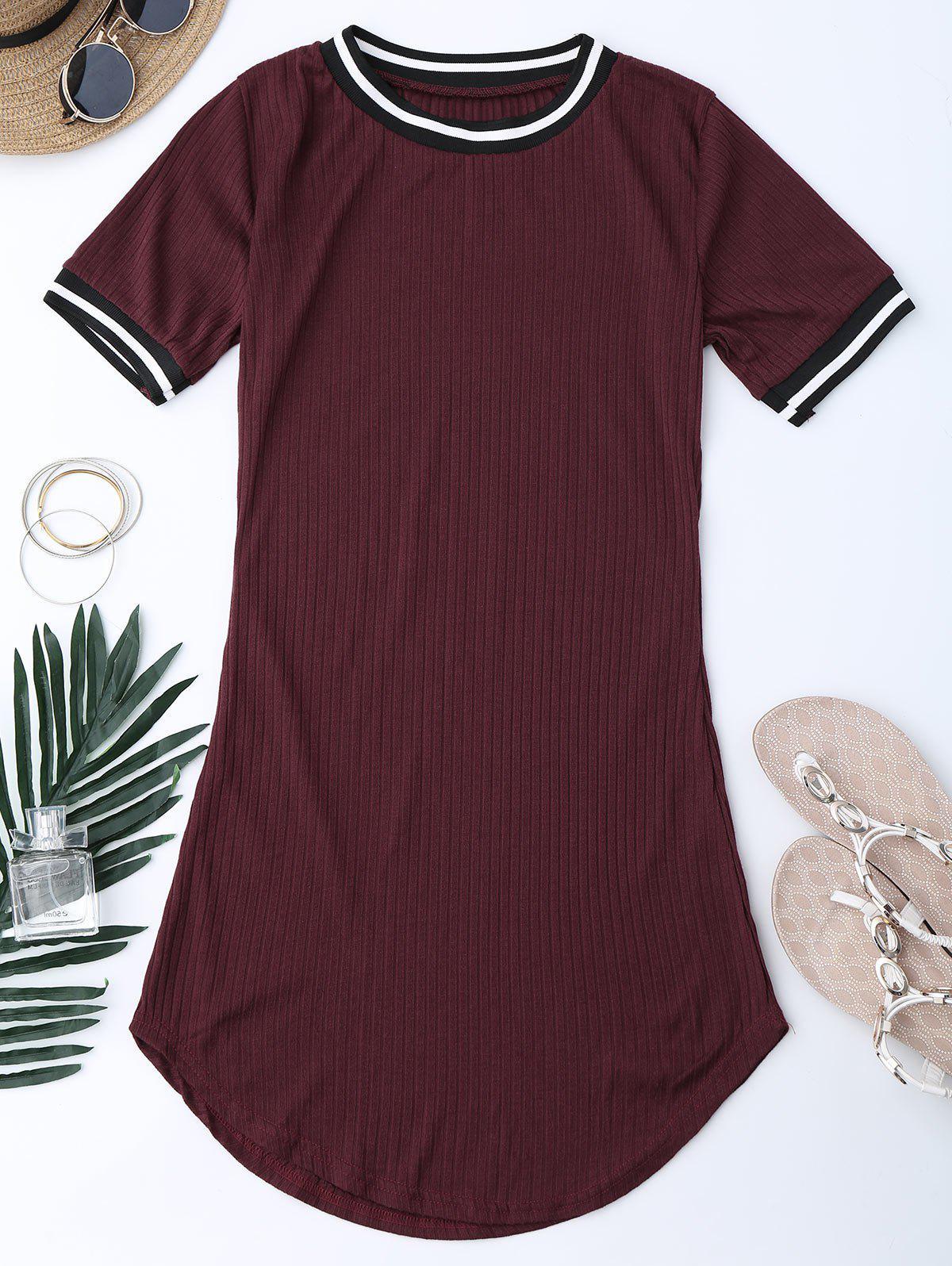 Ribbed Striped Panel Mini Dress 214524917