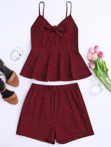 Plaid Peplum Knot Top Y Pantalones Cortos - Rojo Oscuro S