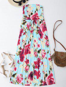 فستان طباعة الأزهار ماكسي بلا حمالة عطلة - الأزهار M