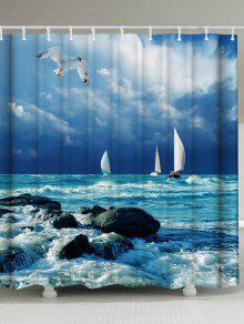 العفن مقاومة البحر موجة الطباعة دش الستار - أزرق W59 بوصة * L71 بوصة