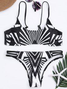 Geo Print Bralette Bikini Set - White And Black S