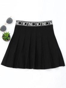Mini Falda De Tejido En Forma De A Línea Con Texto - Negro