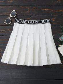Knitting Letter A-Line Mini Skirt - White
