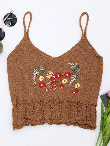 Knitted Sheer Hemming Embroidered Tank Top - Coffee