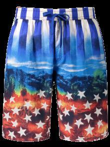 Star And Stripe Printed Board Shorts - Blue 3xl