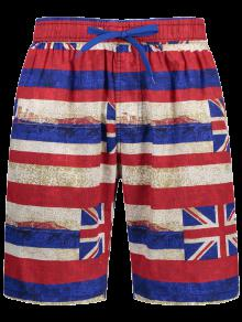 Union Jack Printed Striped Board Shorts - Red L