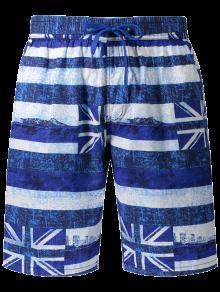 Union Jack Printed Striped Board Shorts - Blue 3xl