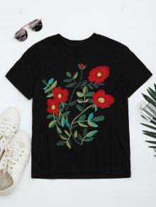 Round Neck Floral Embroidered T-shirt - Black S