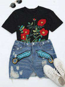 Feather Ripped Denim Skirt - Denim Blue M
