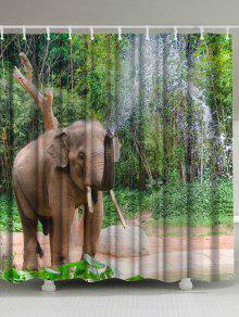 الفيل رذاذ الماء اضافية طويلة دش الستار - أخضر W59inch*l71inch