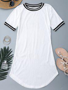 Ribbed Striped Panel Mini Dress - White M