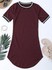 Ribbed Striped Panel Mini Dress - Wine Red M