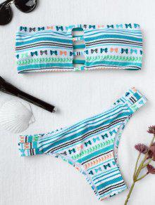 Bandeau Tribe Print Ladder Cut Bikini - Light Blue M