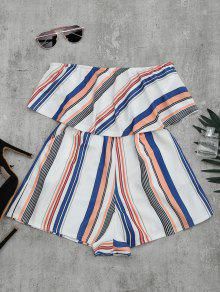 Bandeau Overlay Romper With Multi Stripes - Xl
