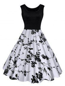 Vestido Midi Clásico Estampado Floral - Negro L