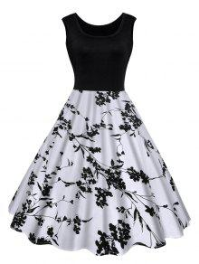 فستان كلاسيكي طباعة الأزهار ميدي - أسود Xl
