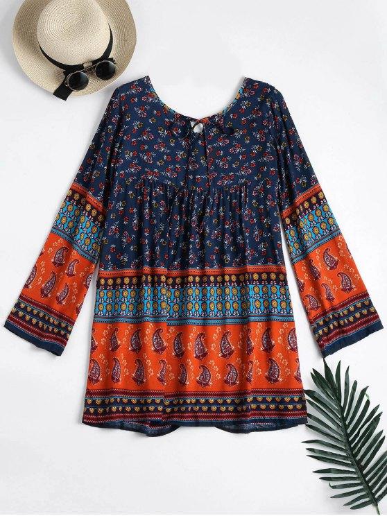 فستان طويلة الأكمام طباعة الاستوائية تونك - أزرق L