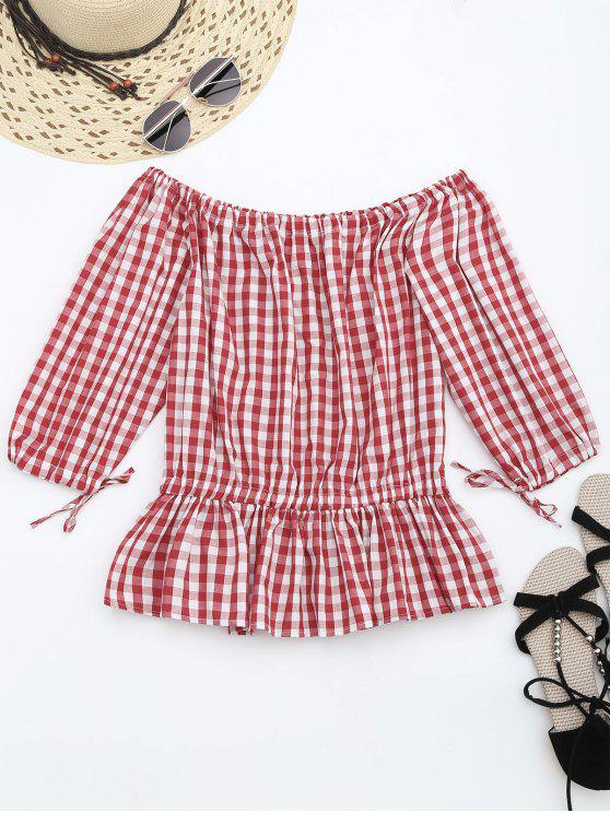 lady Off The Shoulder Ruffle Checked Blouse - CHECKED S