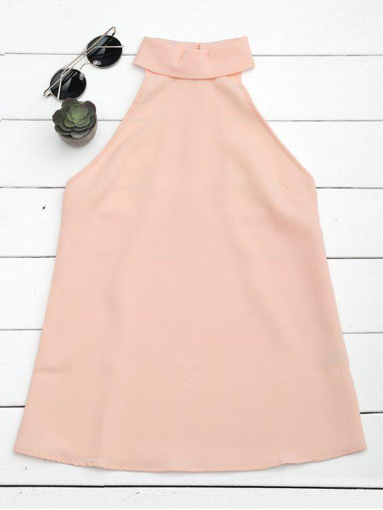 sale Buttoned Back Halter Top - PINK M